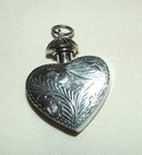 Vintage Sterling Silver Engraved Heart Perfume Pendant