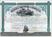 Keely Motor Company Stock Certificate 1883