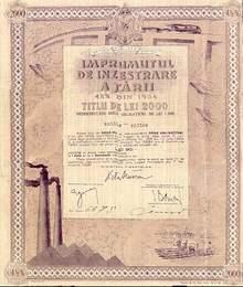 ÎMPRUMUTUL DE INZESTRARE A TARII 4.5% 1934 Romanian State loan Bi Plane in Vignette