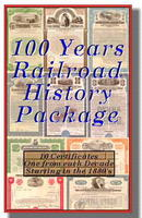 11 Historic Railroad Certificates 100 Years of Railroads - 1880's to 1980's includes signed Vanderbilt BONUS!