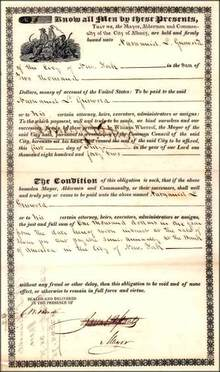City of Albany Bond 1842 - signed by mayor and Nathaniel L. Griswold