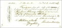 Abraham Bell & Son Shipping Company Sight Exchange Check 1846