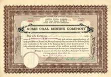 Acme Coal Mining Company Stock Certificate