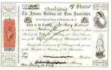 Advance Building and Loan Association 1869 - Pennsylvania