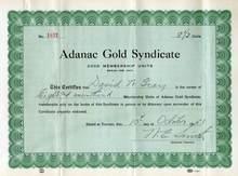 Adanac Gold Syndicate 1951 - Toronto, Canada