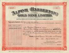 Alpine ( Barberton ) Gold Mine -  England 1950