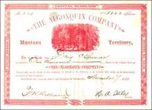 Algonquin Company 1881 - Montana Territory