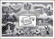 Aloha Hawaii Photogram Postcard WWII - Don't Forget Pearl Harbor with Early surfers in picture