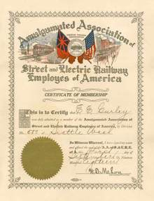 Amalgamated Association of Street and Electric Railway Employees of America 1918 - Seattle