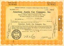 American Austin Car Company Temporary Certificate 1929