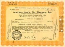American Austin Car Company Temporary Certificate 1929