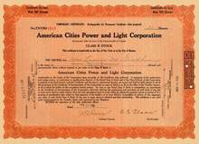 American Cities Power and Light Corporation 1929