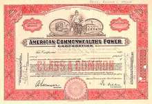 American Commonwealths Power Corp Stock 1930