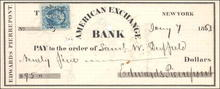 American Exchange Bank Check 1863 - New York