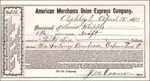 American Merchants Union Express Company Receipt 1869-1873