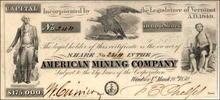 American Mining Company Stock 1850