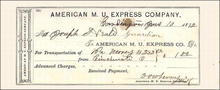American Merchants Union Express Company Receipt 1872