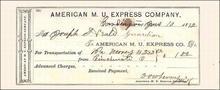 American Merchants Union Express Company Receipt 1872