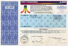 Atari Corporation Non Public Stock to Jack Tramiel 100,000 Shares - RARE