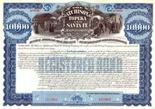 Atchison Topeka and Santa Fe Railway Company 1895 - $10,000 100 Year Gold Bond
