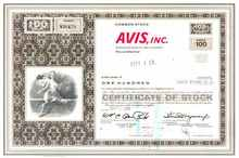 Avis Rent a Car Certificate