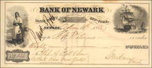 Bank of Newark Check 1853