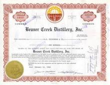 Beaver Creek Distillery, Inc Stock Certificate