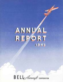 Bell Aircraft Corporation Annual Report 1948 - Bell X-1 Supersonic Aircraft on Cover