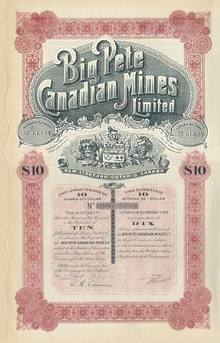 Big Pete Canadian Mines 1910 - Ontario Canada