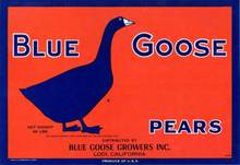 Blue Goose Pears Crate Label