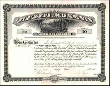 British Canadian Lumber Corporation 1911 signed by Robert Mackay as President