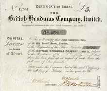 British Honduras Company, Limited 1864 (Belize Estate and Produce Company )