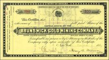 Brunswick Gold Mining Company 1888-1889