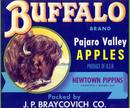 Buffalo Brand Apples Label - Watsonville, California