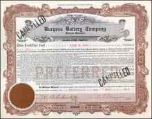 Burgess Battery Company signed by C. F. Burgess 1920 - RARE