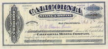 California Mining Company 1882 - Virginia Mining District, Nevada