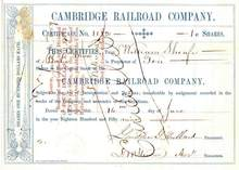Cambridge Railroad Company - 1859 Massachusettes