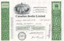 Canadian Javelin Limited Stock Certificate - FRAUD