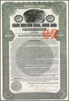 Cape Brenton Coal, Iron and Railway Company 1905 - Nova Scotia