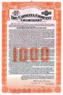 Carolina Company 1922 Gold bond - Rhode Island ( Carolina Mills )