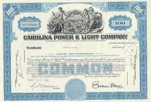 Carolina Power Company Stock Certificate