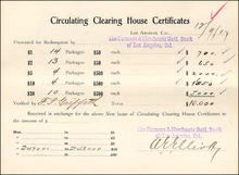 Los Angeles Circulating Clearing House Certificates Form - 1907