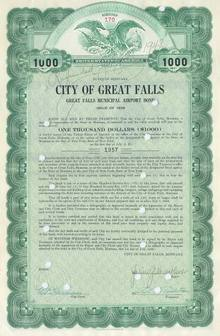 City of Great Falls Municipal Airport Bond 1938