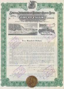City of Great Falls Special Improvement District Coupon Bond 1914