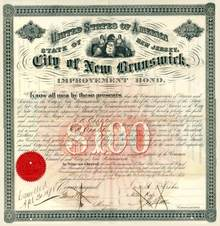 City of New Brunswick Improvement Bond - Rutgers University 1870's