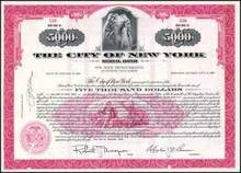 City of New York Municipal $5,000 Bond - Indian Chief vignette