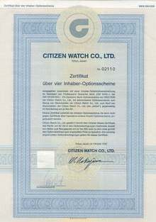 Citizen Watch Certificate in German