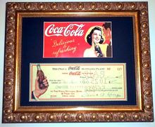 Coca-Cola 1930s SCARCE Check & Advertisement Framed