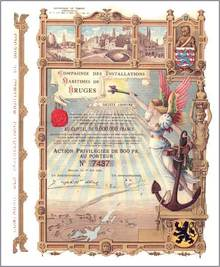 Compagnie Des Installations Maritimes De Bruges 1904 - Most Beautiful Certificate