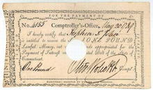 Revolutionary War Payment 1789 signed by Oliver Wolcott (Secretary of the Treasury under Washington )